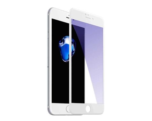 Защитное стекло для iPhone 8 Plus Anti-Microbial (вид — 3D, белая рамка, в комплекте салфетка и стикер)