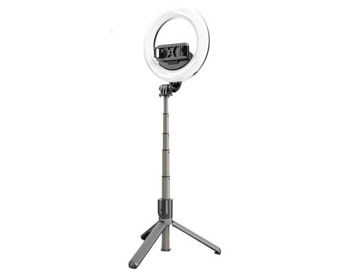 Селфи палка штатив L07, с лампой, Bluetooth, 90 см, черная