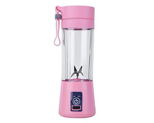 Портативный USB блендер Juice Blender для смузи, 4 лезвия, розовый