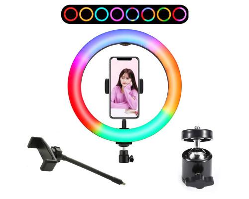 Кольцевая лампа RGB LED MJ33 32 см, с держателем для смартфона