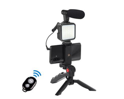 Микрофон пушка Kit-03LM с led подсветкой на аккумуляторе, настольным триподом, держателем телефона и пультом Bluetooth