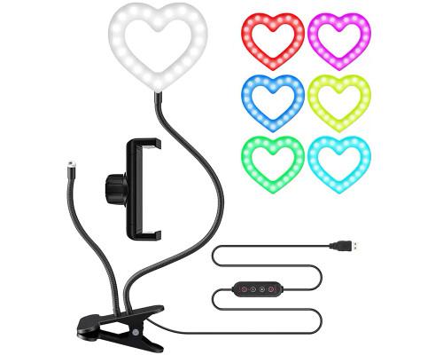 Кольцевая лампа сердце RGB для смартфона на гибком штативе, настольная на прищепке