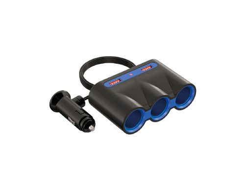 Разветвитель прикуривателя Dream WF-0966, 3 A, 3 гнезда, 2 USB, 0.6 м