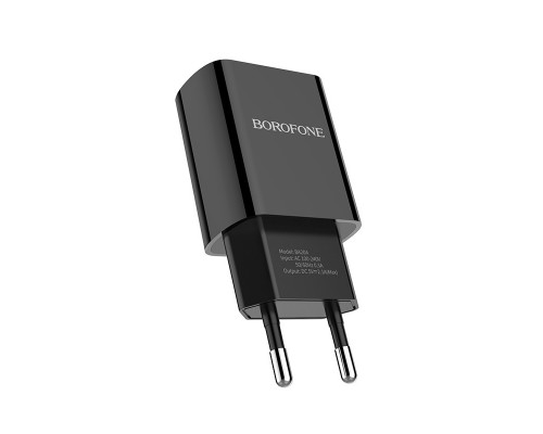 Сетевое зарядное устройство Borofone BA20A Sharp single, 2.1 А, черное