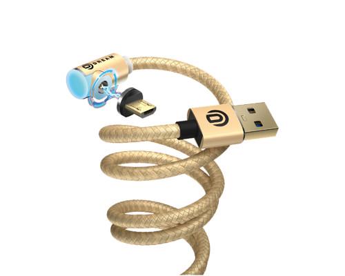 Кабель Dream U50 USB - microUSB магнитный, 1 м, 2.4 A, золотистый