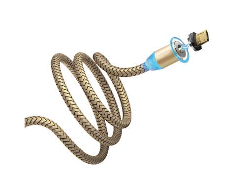 Кабель Dream U40 USB - microUSB QC 3.0, магнитный, 1 м, 2.4 A, золотой