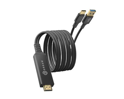 Кабель-переходник Dream HD01 HDMI - Type-C - USB 2.0, длина 2 м