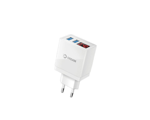 Сетевое зарядное устройство Dream A61 с дисплеем, 2 USB, 2.4 А, эконом