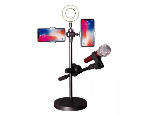 Кольцевая лампа с держателем для смартфона и микрофона, 9 см