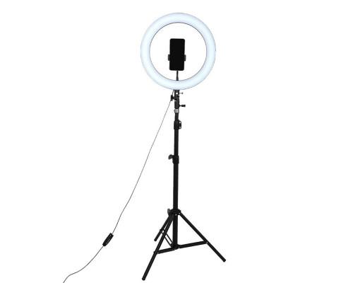 Кольцевая лампа для профессиональной съемки, селфи лампа с держателем для смартфона, со штативом, диаметр лампы - 32 см