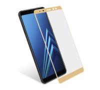 Защитное стекло для Samsung Galaxy A8 2018 3D золотое