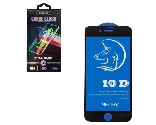 Защитное стекло MONLAS для iPhone 8 10D черное