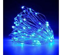 Гирлянда нить 70 LED ламп голубых, длина 7 м