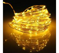 Гирлянда Нить 60 LED ламп желтых, длина 6 м