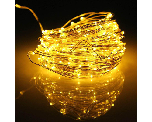 Гирлянда нить 190 LED ламп желтых, длина 20 м