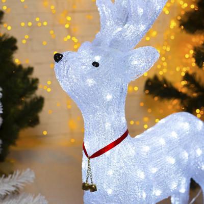 Фигурка световая олень белый высота 30 см
