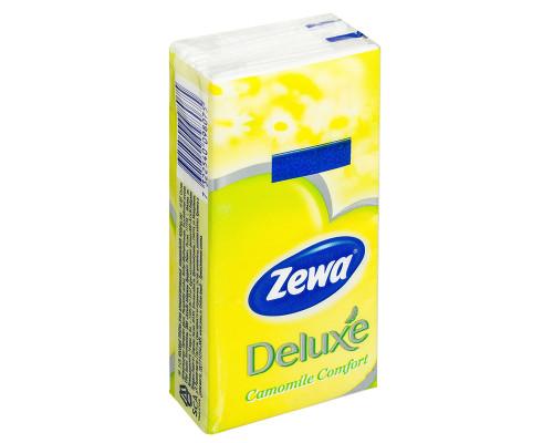Платочки Zewa Deluxe Ромашка бумажные носовые, 3 слоя