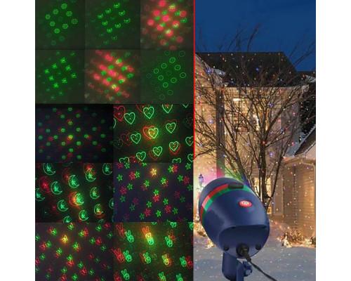 Новогодний лазерный проектор для улицы, 12 картин