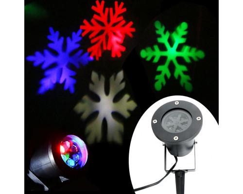 Новогодний лазерный проектор для улицы, снежинки