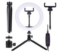 Кольцевая лампа CXB-260 для профессиональной съемки, селфи лампа на настольной треноге с держателем для смартфона, диаметр лампы - 26 см