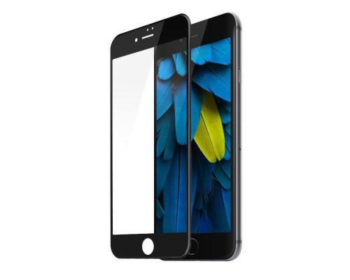 Защитное стекло для iPhone 7 Plus (вид - 3D, черная рамка, комплектация эконом)