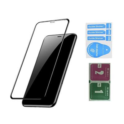 Защитное стекло для iPhone XR (вид - 3D, черная рамка, в комплекте салфетка и стикер)