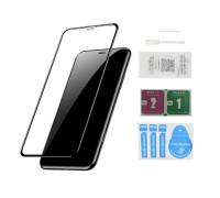 Защитное стекло для iPhone XR (вид - 5D полная проклейка, черная рамка, в комплекте салфетка, стикер и гель для подклейки)
