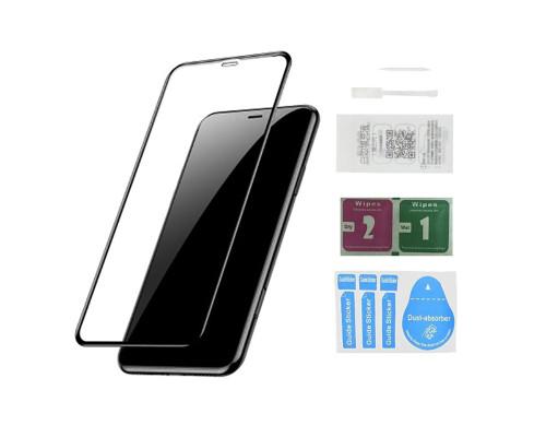 Защитное стекло для iPhone XR (вид - 10D полная проклейка, черная рамка, в комплекте салфетка, стикер и гель для подклейки)