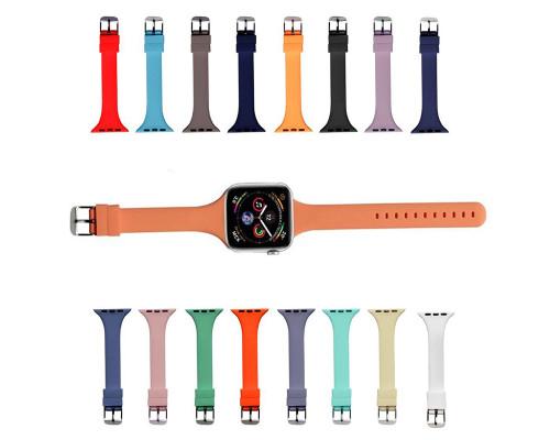 Ремешок для Apple Watch 42 - 44 мм с матовым металлическим креплением Slim цветной