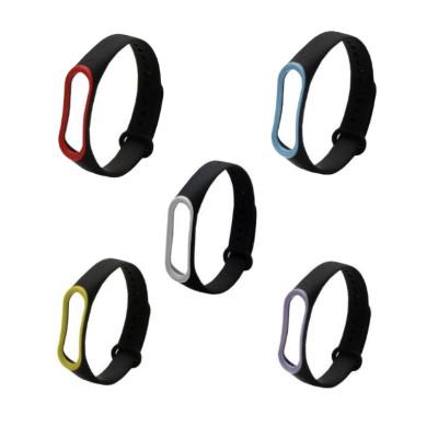 Ремешок для Xiaomi Mi Band 3 черный с цветной окантовкой
