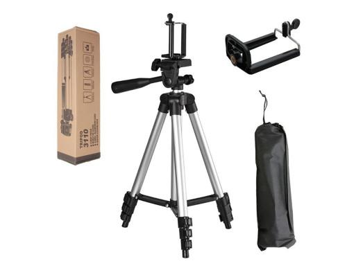 Штатив для камеры и телефона Tripod 3110 с чехлом и запасным зажимом для телефона