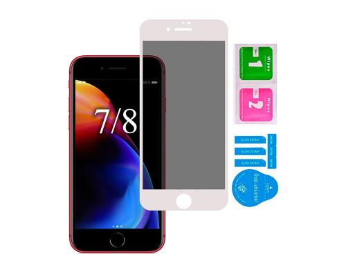 Защитное стекло для iPhone 7/ 8 антишпион 5D полная проклейка белое с салфеткой и стикером