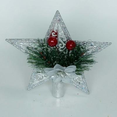 Верхушка на елку Звезда, серебристая, 15 см