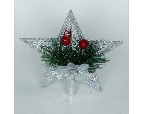 Звезда серебряного цвета, размер 15 см.