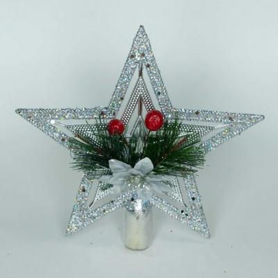 Верхушка на елку Звезда, серебристая, 20 см