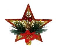 Верхушка на елку Звезда, красная, 15 см.