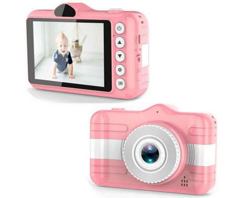 Детский цифровой фотоаппарат с двумя камерами + ремешок для ношения, розовый