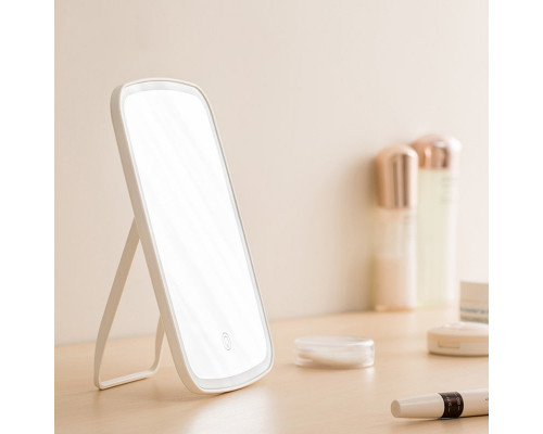 Зеркало с подсветкой для макияжа LED NZ520, розовое, 23х16х2см
