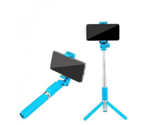 Селфи палка (монопод) KИТ Whale R2, штатив для телефона с пультом Bluetooth, голубой