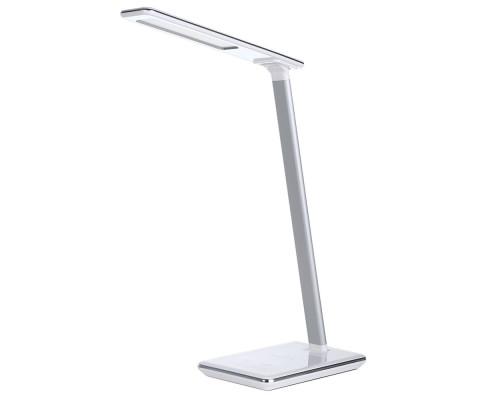 Настольная светодиодная лампа с беспроводной зарядкой для телефона, 4 режима света, таймер, сенсорное управление, белая