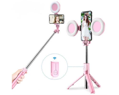 Штатив для селфи с моноподом, двумя кольцевыми лампами, пультом bluetooth, вращение держателя телефона на 360 градусов, настольный/напольный, розовый цвет