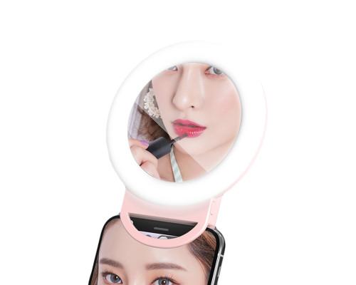 Селфи кольцо для телефона с зеркалом HR-20, диаметр 11.5 см, розовое