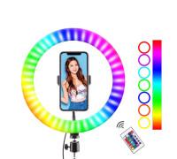 Цветная кольцевая лампа WH26 для профессиональной съемки, с RGB режимами (мультиколор), диаметр лампы - 26 см