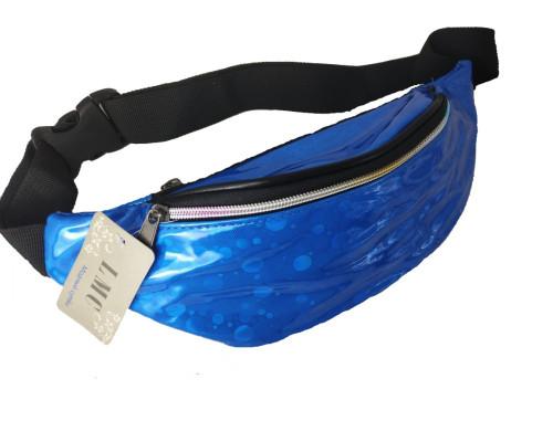 Сумка на пояс синего цвета, с орнаментом кружочки
