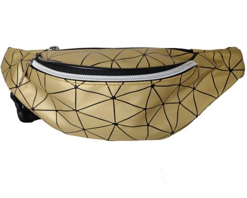 Сумка на пояс золотого цвета, с орнаментом треугольники