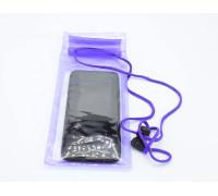 """Водонепроницаемый чехол для телефона до 6.5"""" на шею, универсальный, фиолетовый"""