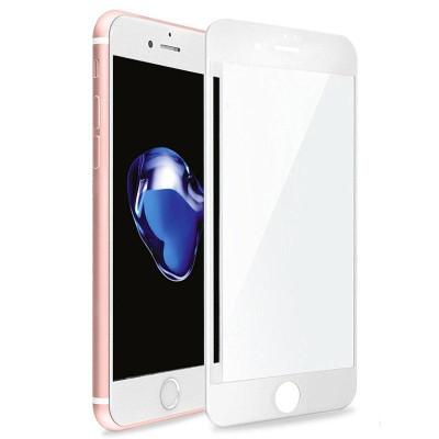 Защитное стекло для iPhone 8 Plus (вид - 3D, белая рамка, комплектация эконом)