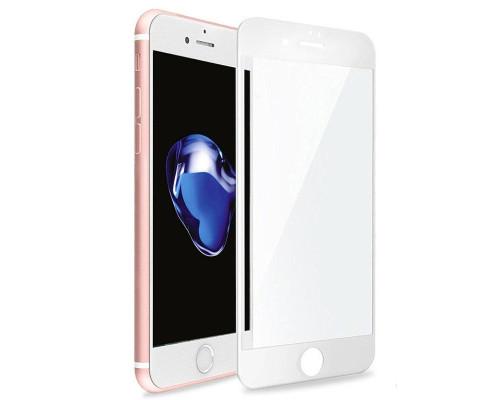 Защитное стекло для iPhone 7 Plus (вид - 3D, белая рамка, комплектация эконом)