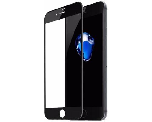 Защитное стекло для iPhone 8 Plus (вид - 3D, черная рамка, комплектация эконом)
