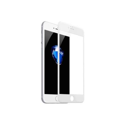 Защитное стекло для iPhone 8 (вид - 3D, белая рамка, комплектация эконом)